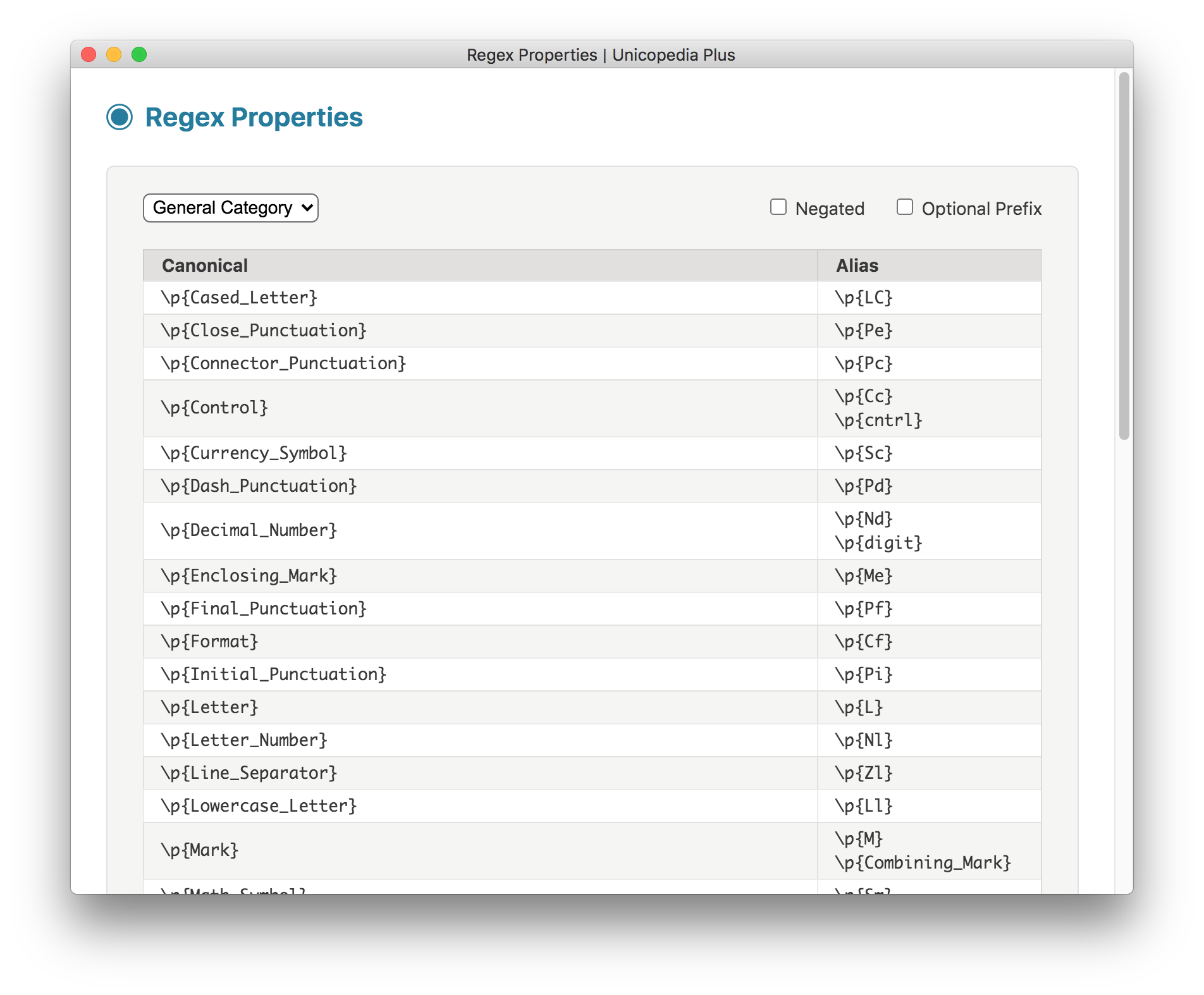 Regex Properties screenshot