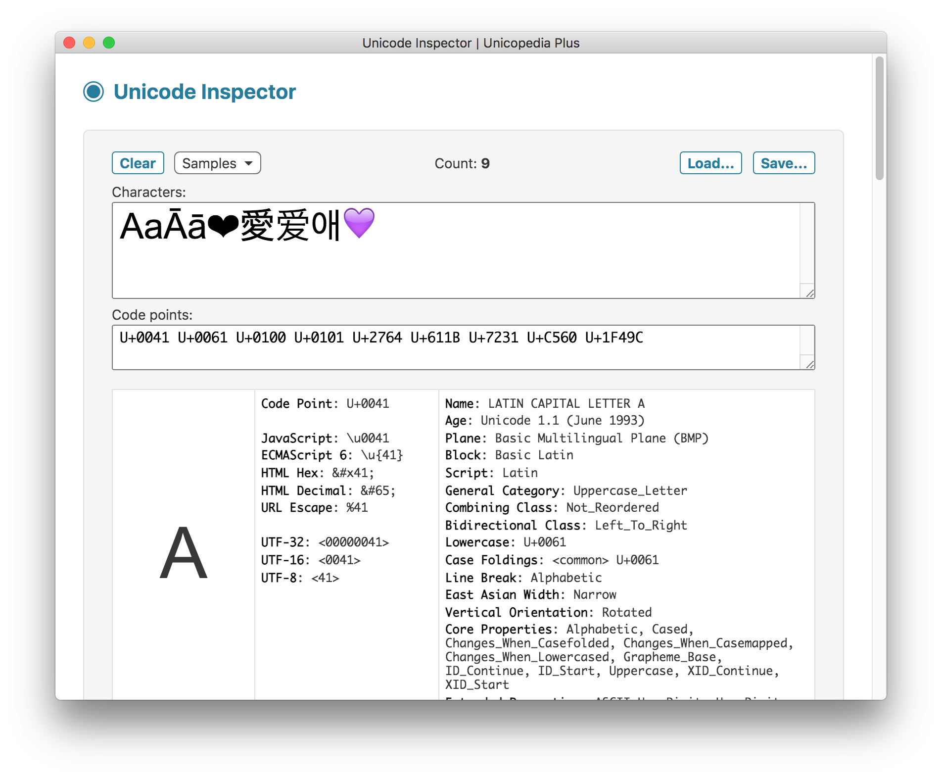 Unicode Inspector screenshot
