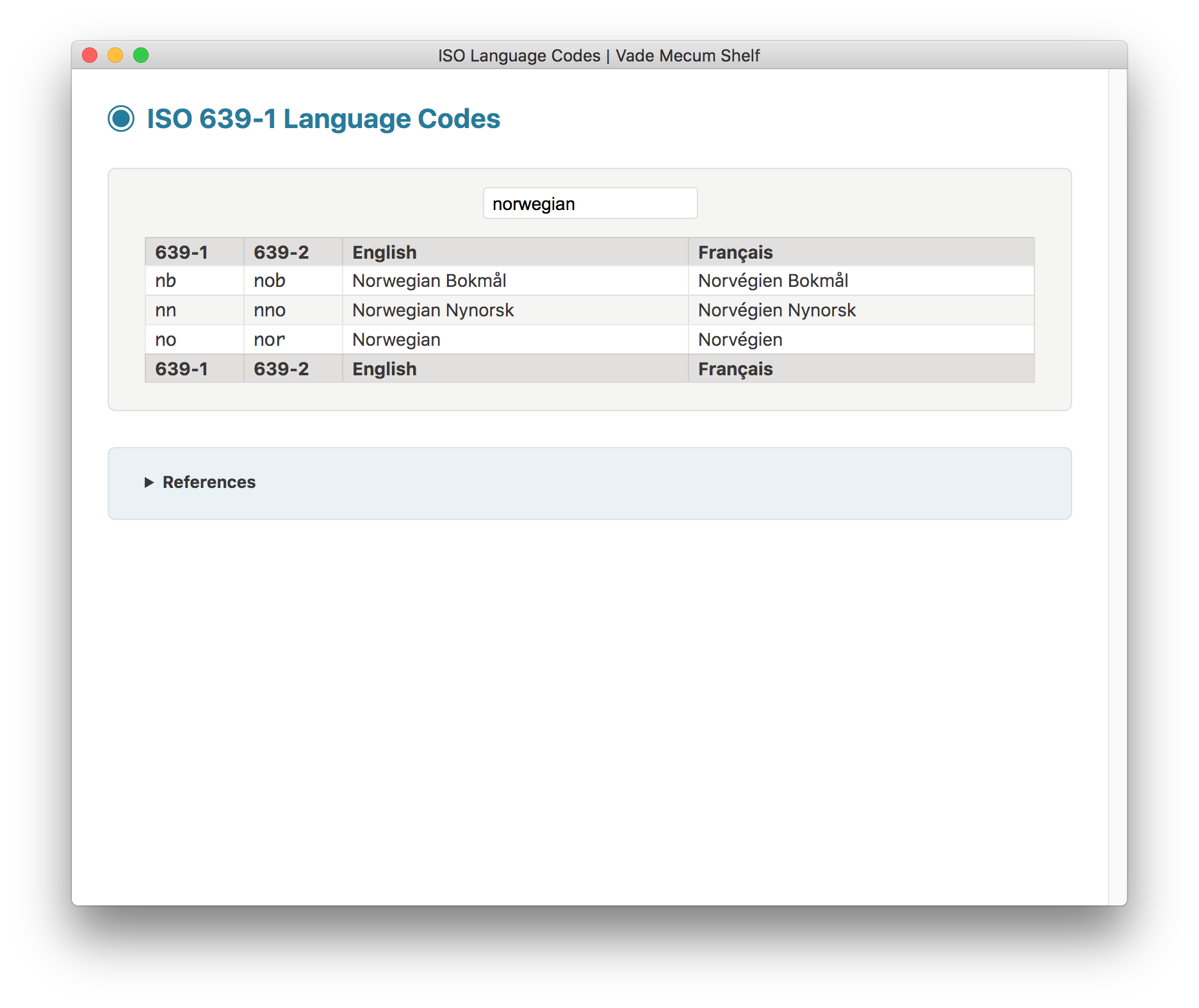 ISO Language Codes screenshot