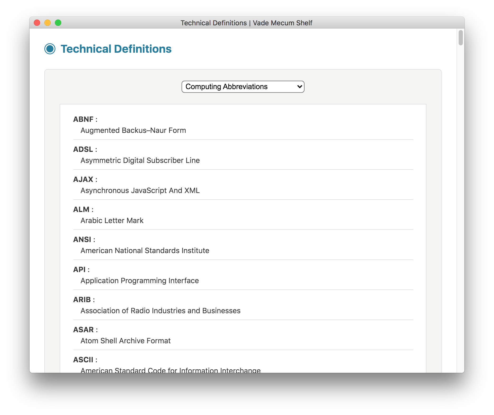 Technical Definitions screenshot