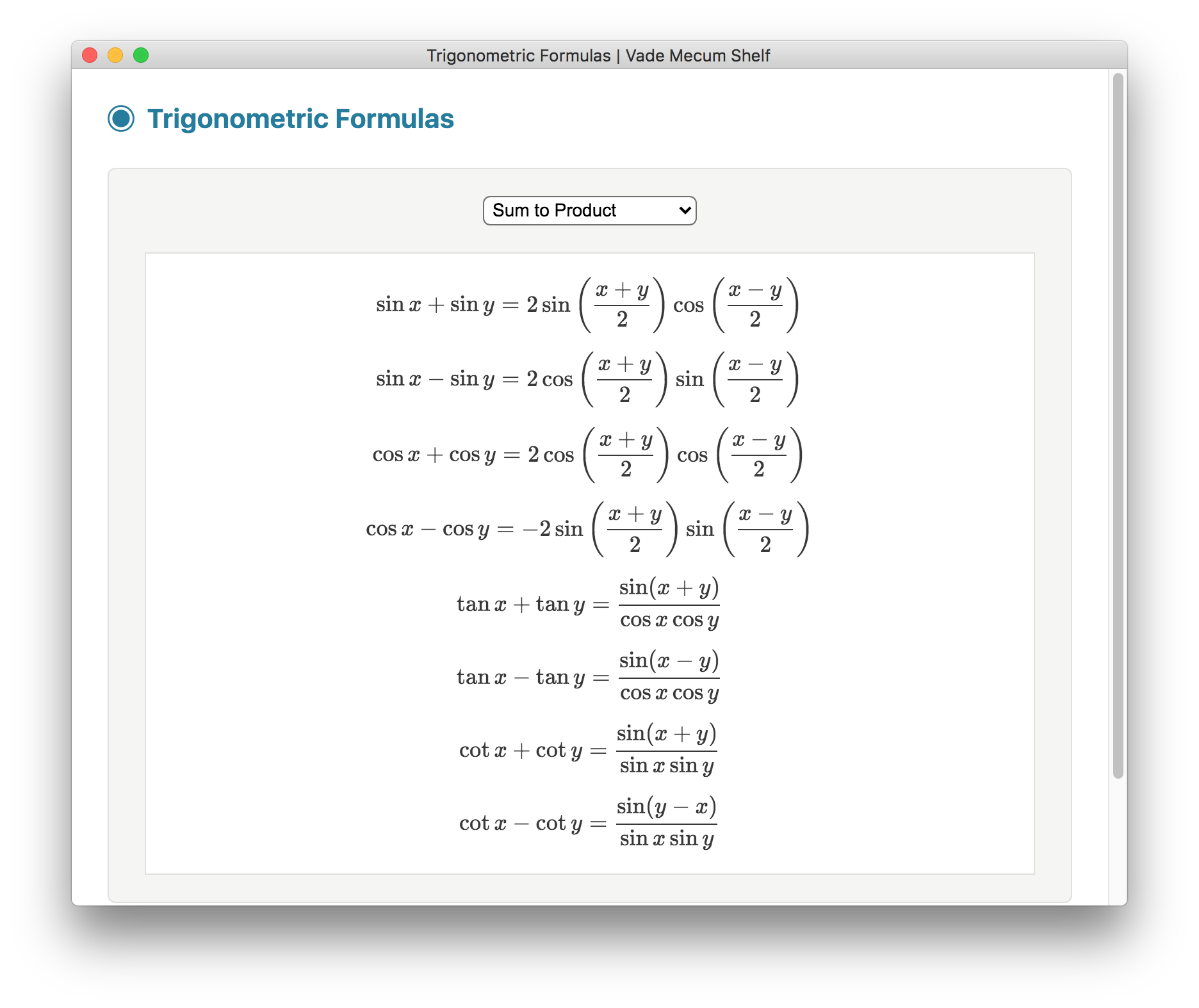 Trigonometric Formulas screenshot