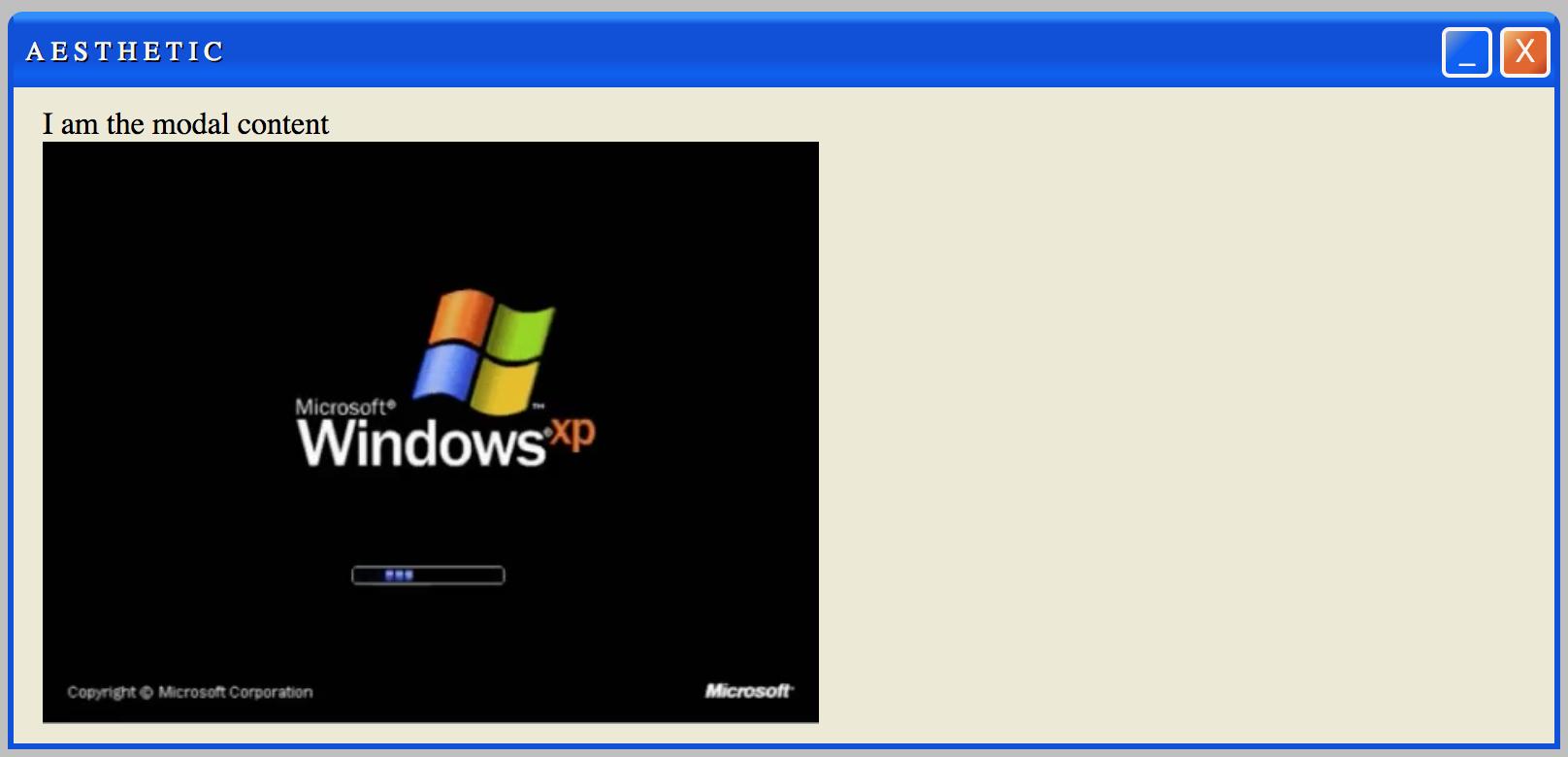 Windows XP Modal Example
