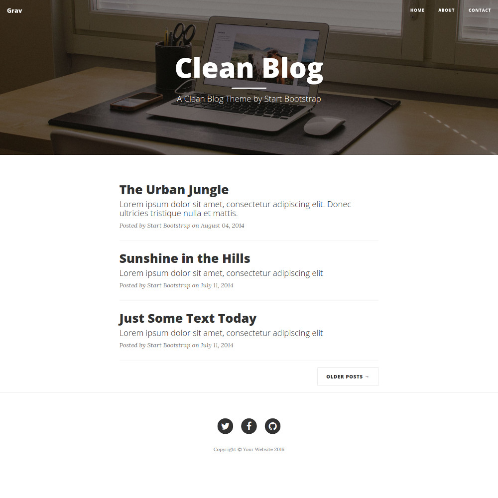 Clean Blog Theme screenshot