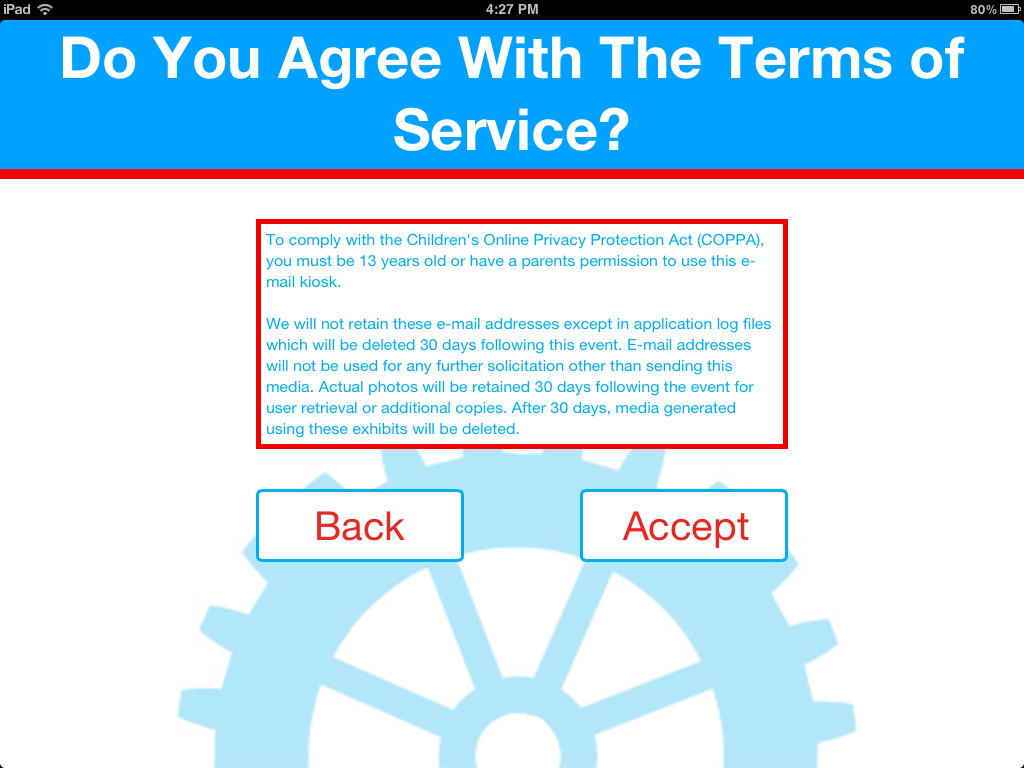 Terms of service page