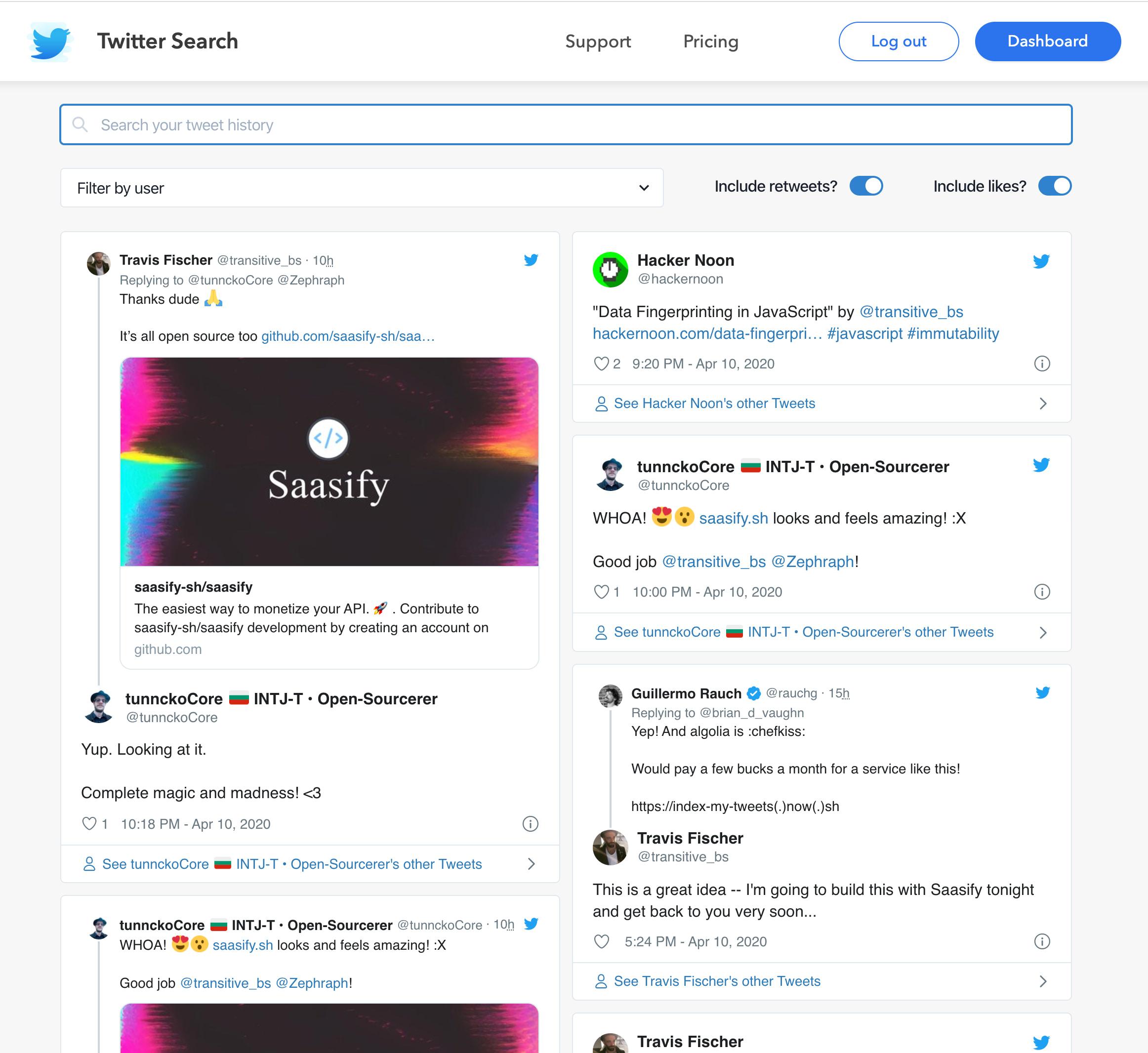 Screenshot of search UI