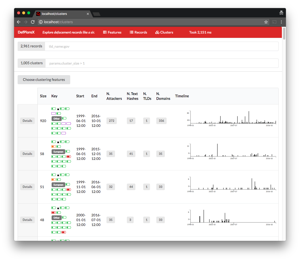 DefPloreX web app main screen