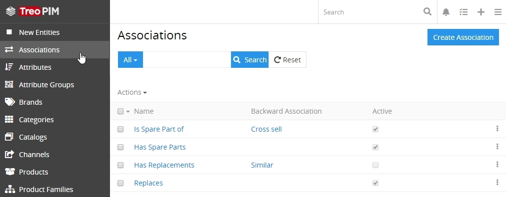 Associations list view page