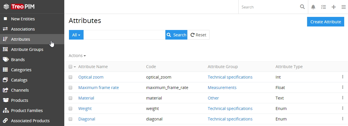 Attributes list view