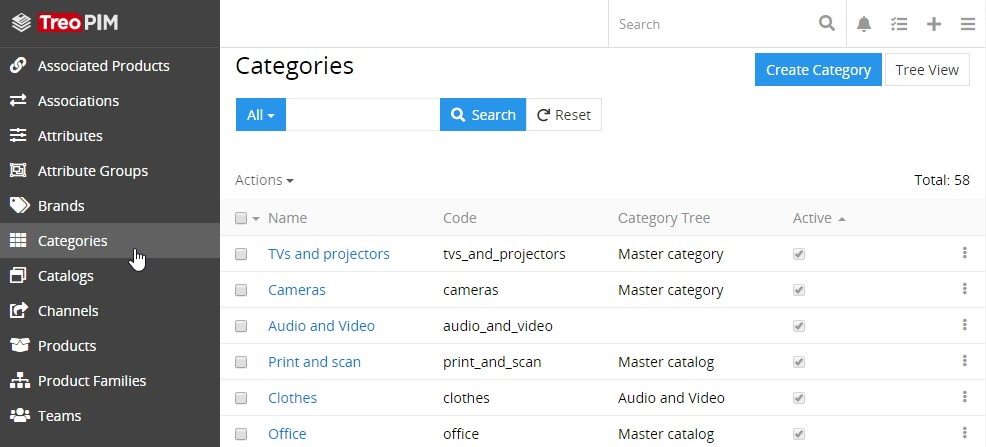 Categories list view page