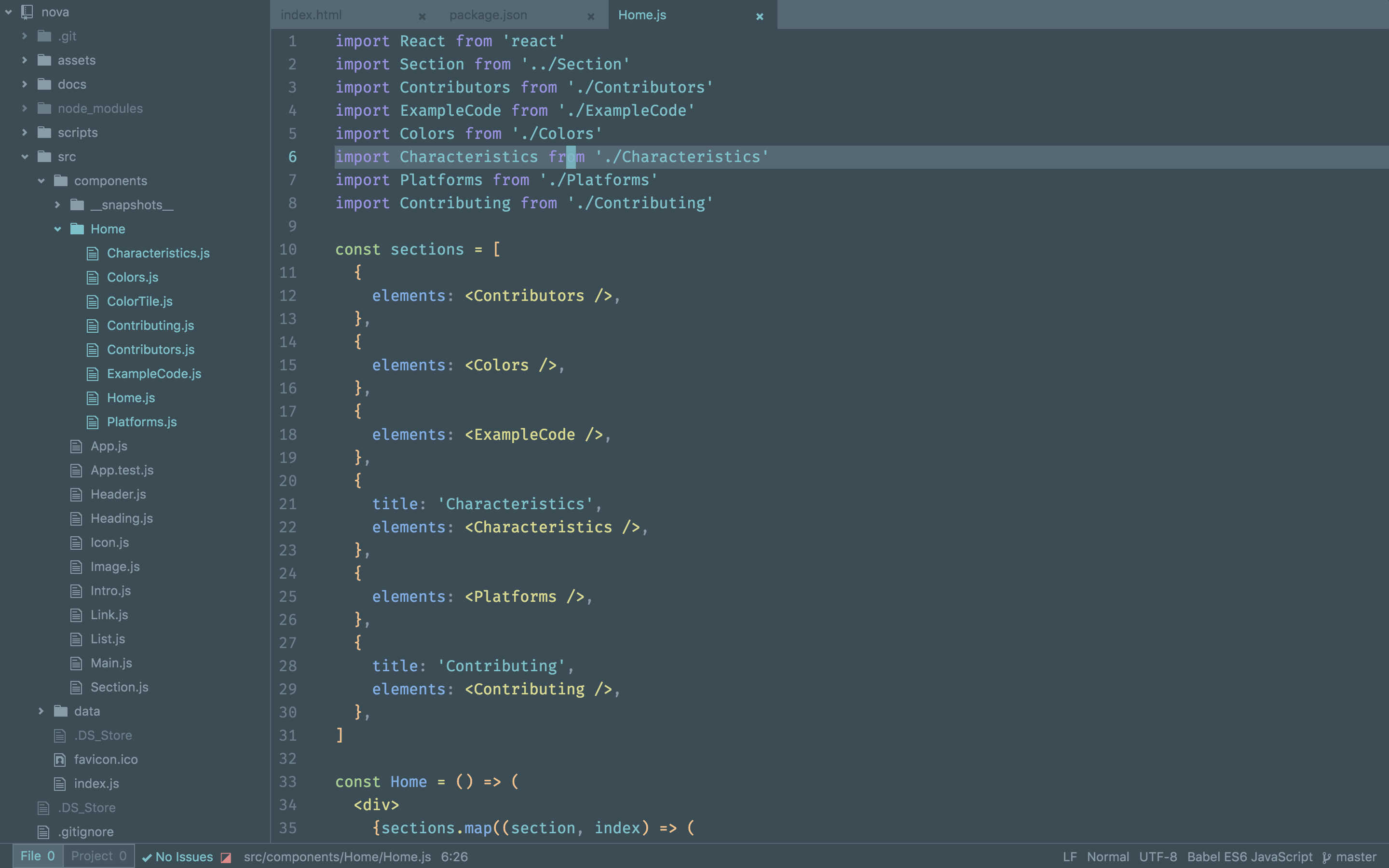 Screenshot of Nova plugin for Atom