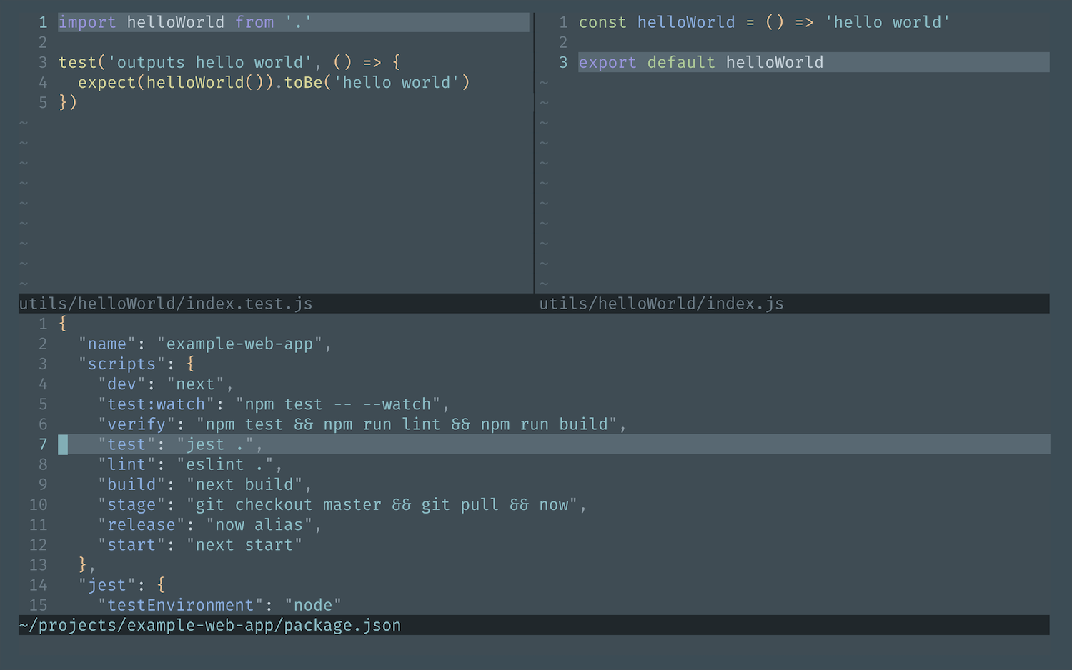 Screenshot of Nova plugin for Vim