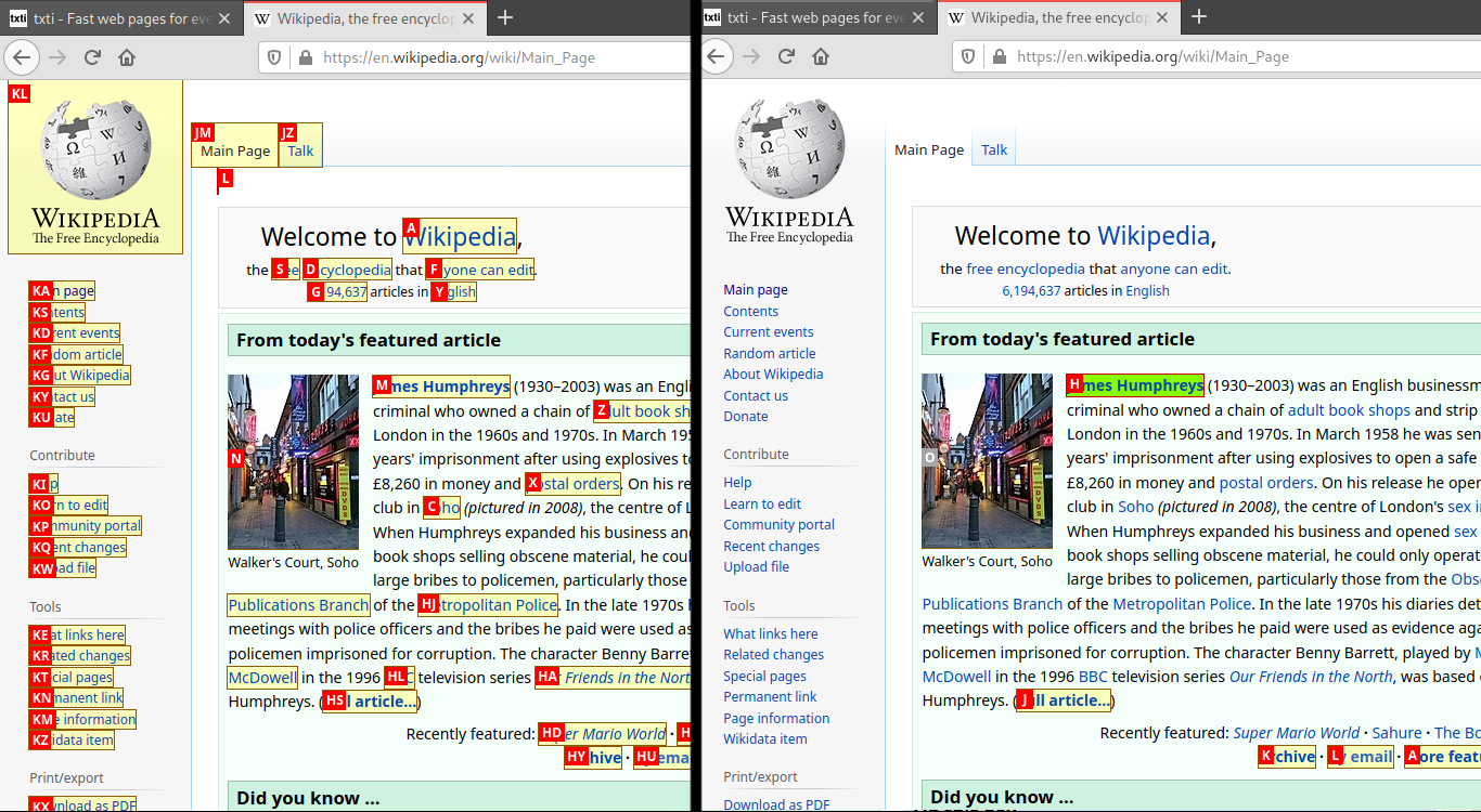 Left: full hints on the Wikipedia homepage. Right: custom hints which only highlight major articles