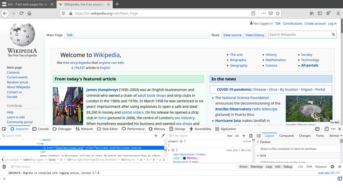 Wikipedia's main page with the Firefox developer tools open