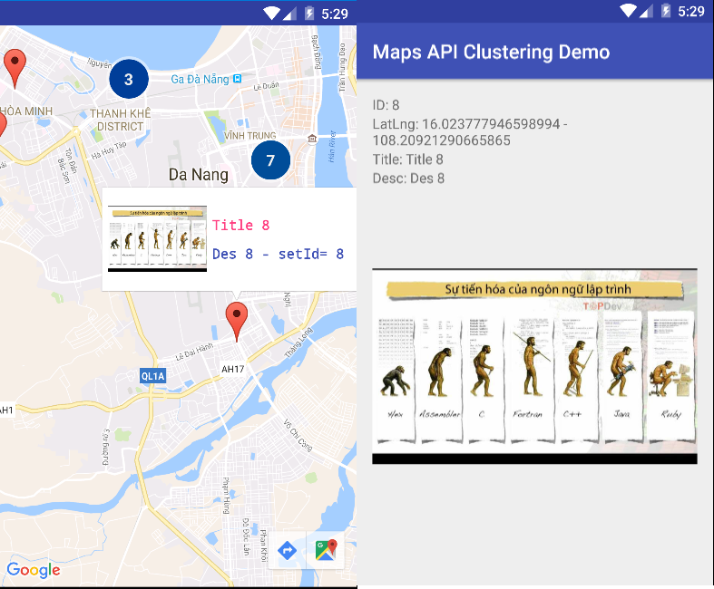 Gom Marker trong Android với Google Maps Android API - Google Maps Android Marker Clustering Utility
