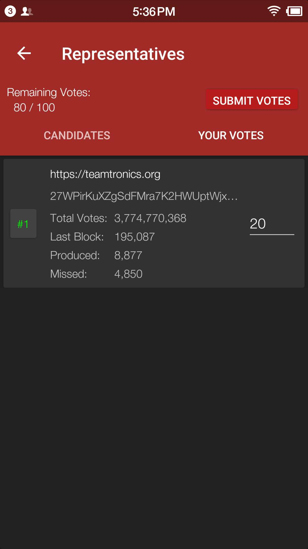 https://raw.githubusercontent.com/tronprotocol/Documentation/master/images/Wallet_for_Android/投票/18.这个时候我们可以看到在your%20votes一栏中与投票前不同的是出现了我们为其投过票的SR候选人信息.jpg
