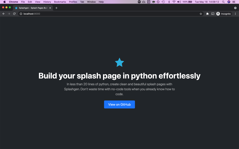 Example splash site