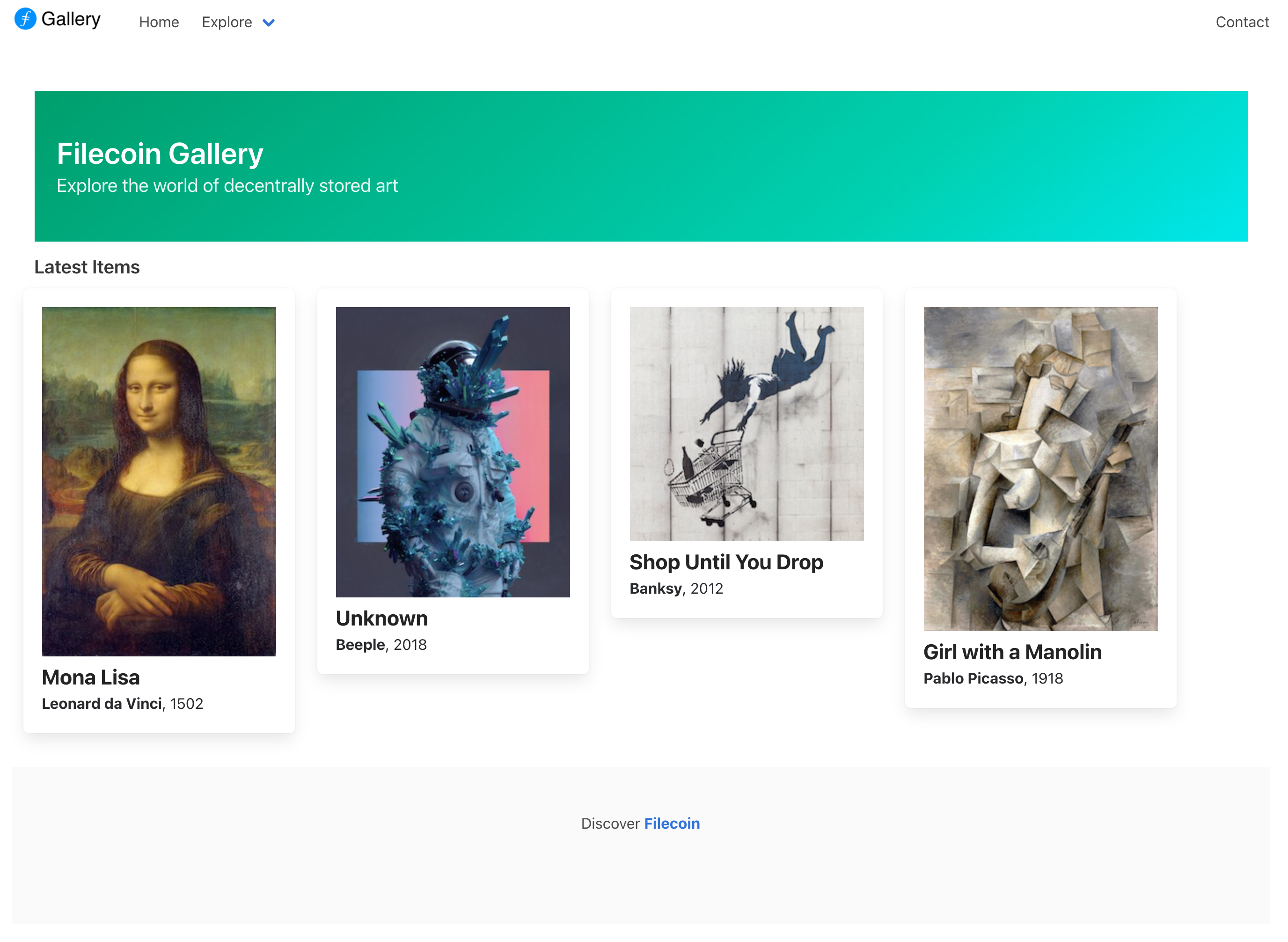 the Filecoin Trufflebox provides you with a Filecoin powred art gallery