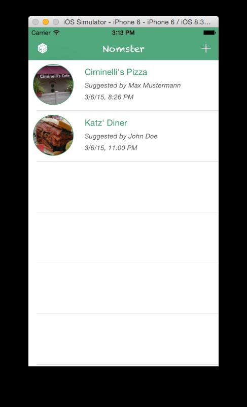 Mobile UI List view