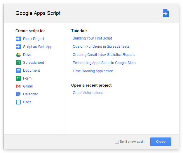 Google Apps Script: New Project