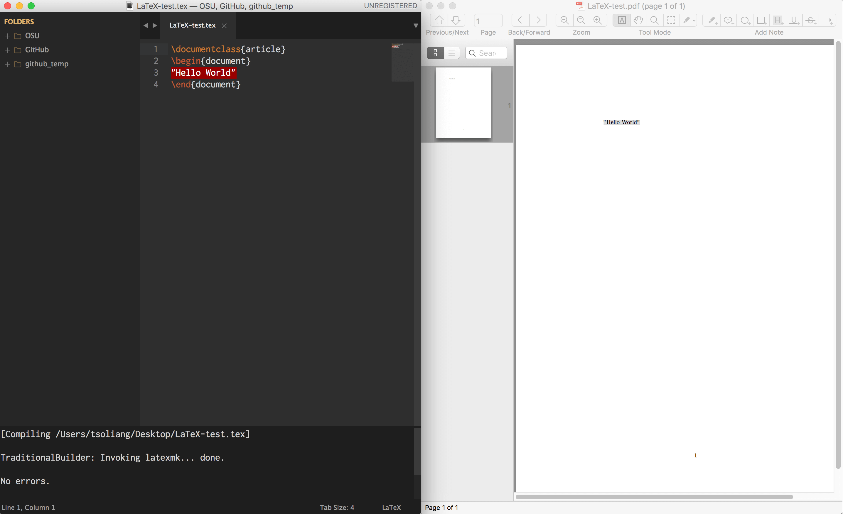 Sublime Text 3 + MacTeX + Skim
