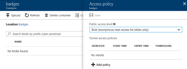 badges container shared policies