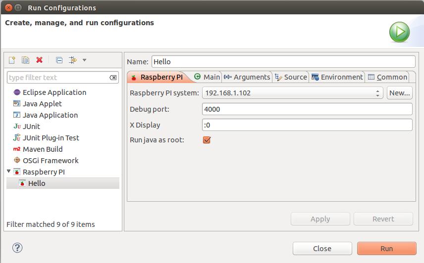 Adding Raspberry PI Run Configuration