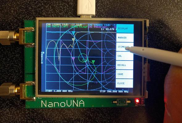 A NanoVNA showing a Smith chart