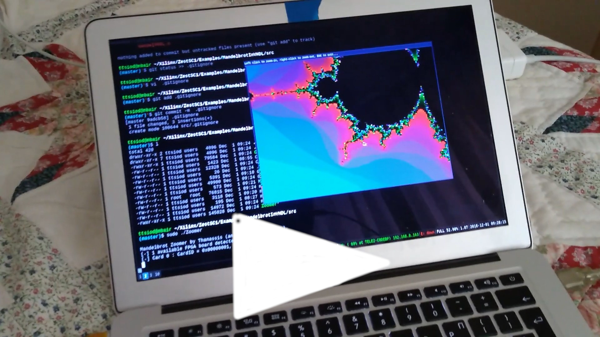 Mandelbrot in VHDL - real-time zooming video
