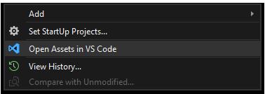 Open assets folder in VS Code