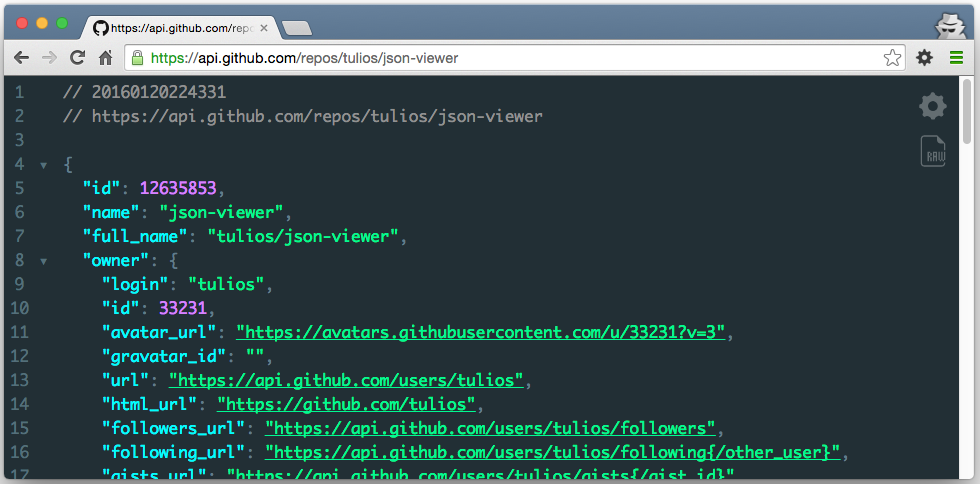 json viewer screenshot
