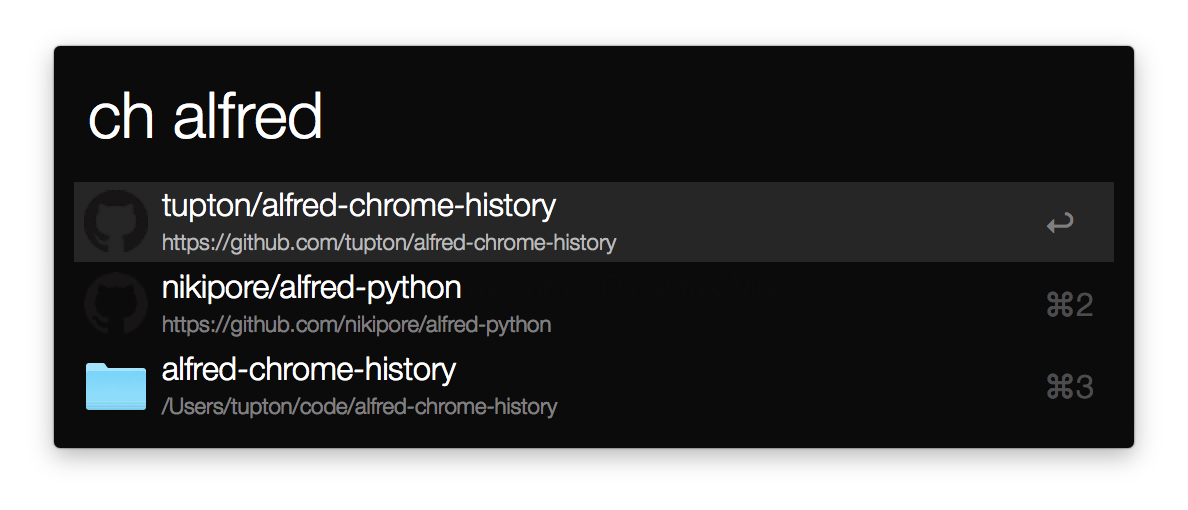 alfred chrome history workflow