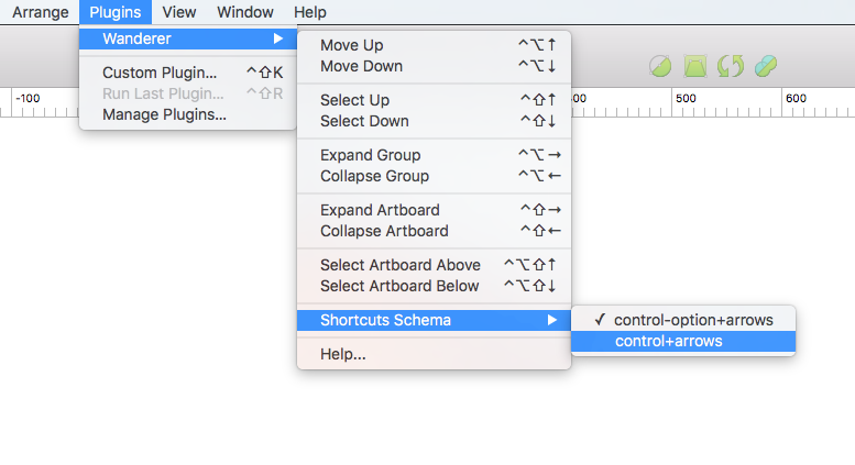 Switching shortcuts schema