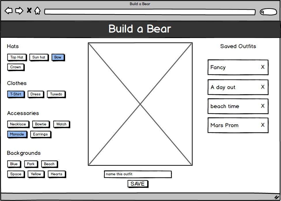 build a bear project wireframe