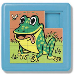 A sliding puzzle featuring a frog.