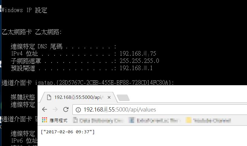使用遠端機器連線到 API 服務