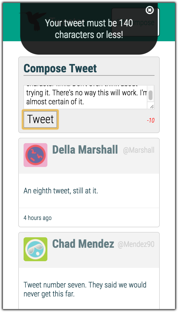 Tweeter flash error message, shown in Galaxy S5 aspect ratio