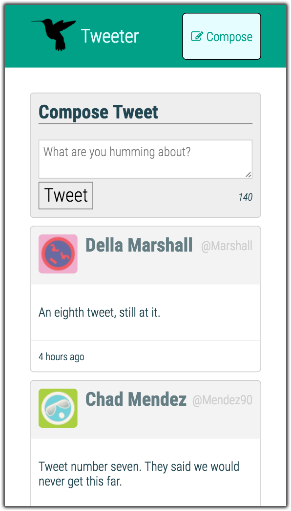 Tweeter home screen, shown in Galaxy S5 aspect ratio