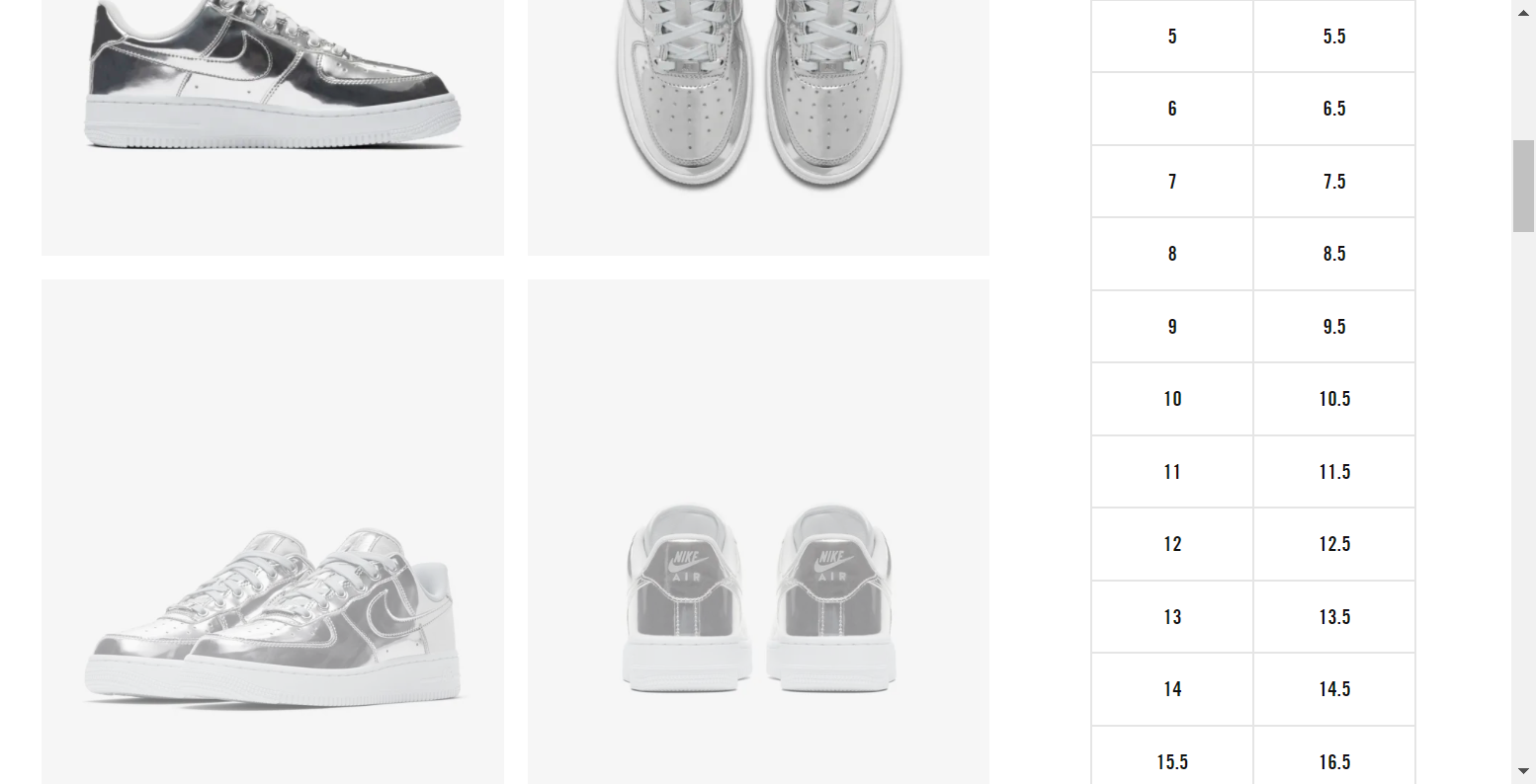 Round 2 - Finding/scrolling to the size selectors