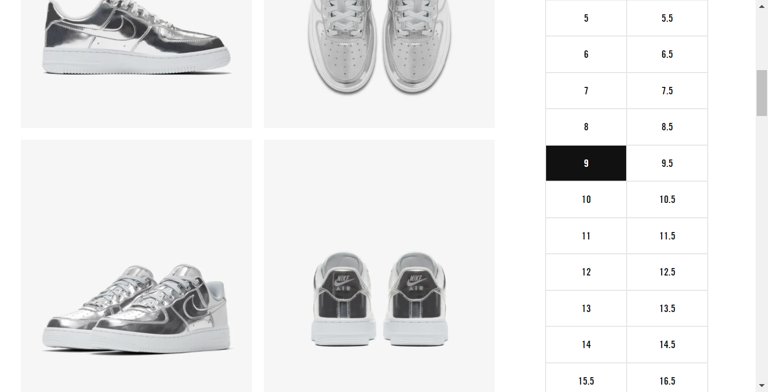 Round 3 - Clicking the desired shoe size selector