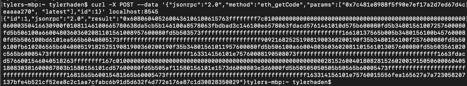 Ganache cli getCode (pic missing)