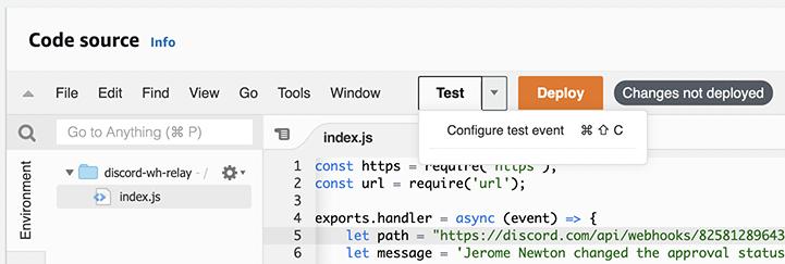 Configure Test Event Popup