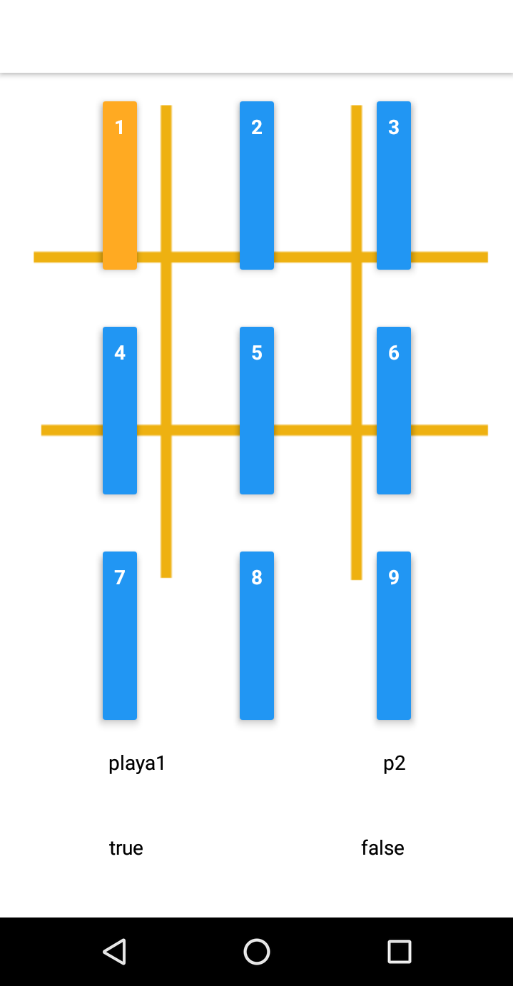 a screenshot of a cell phone with android softkeys at the bottom  and a tic tac toe board with very tall skinny buttons in each cell of the tic tac toe board.
