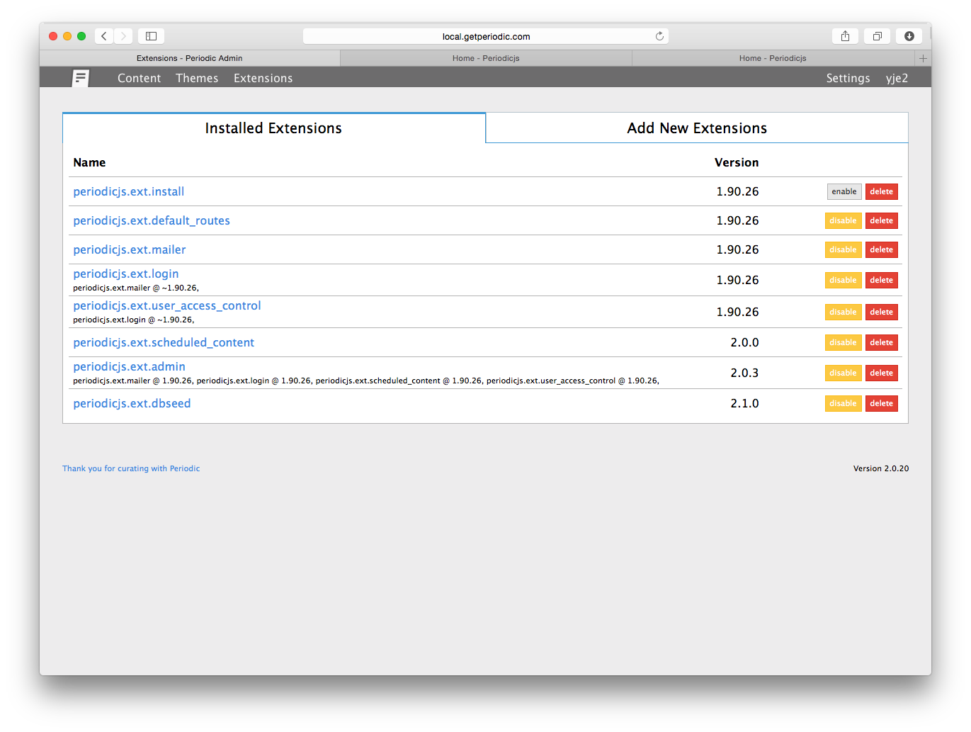 list extensions
