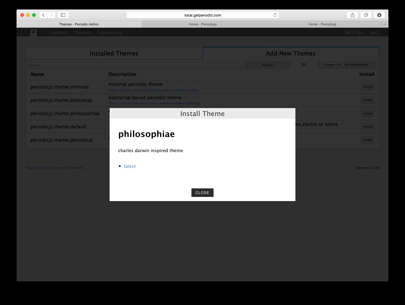 new theme install modal