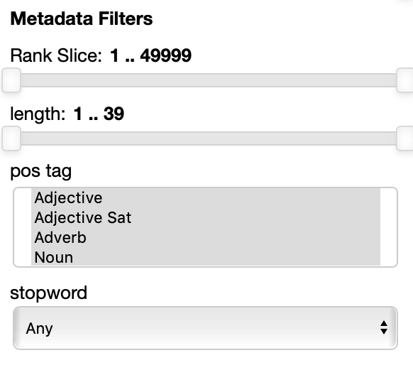 parallax ui metadata filters