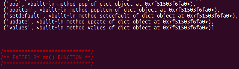dd() function exit message