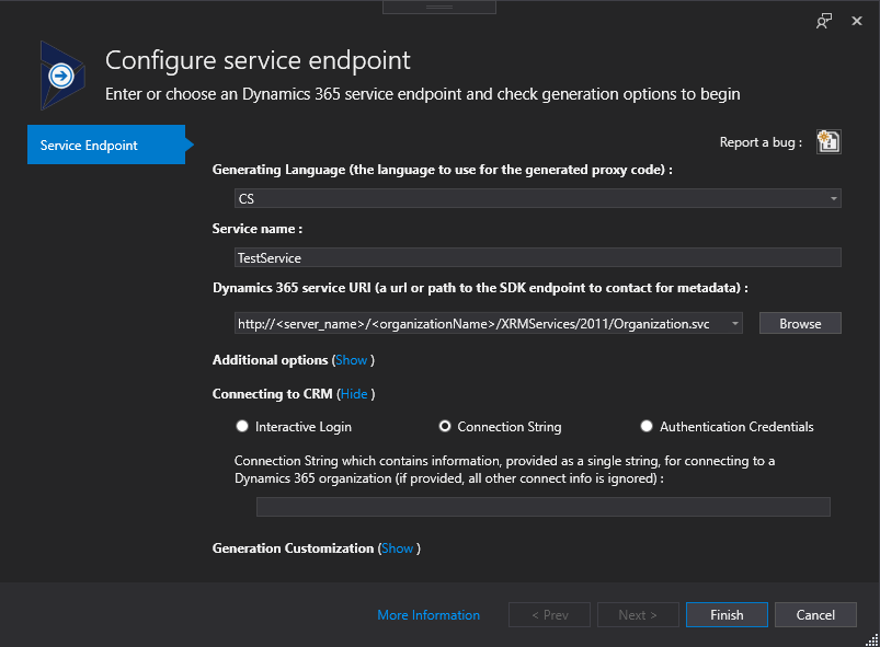 Connected Service Configuration - Connecting CRM - Connection String