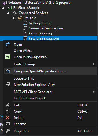 Unchase OpenAPI (Swagger) Connected Service - Visual Studio