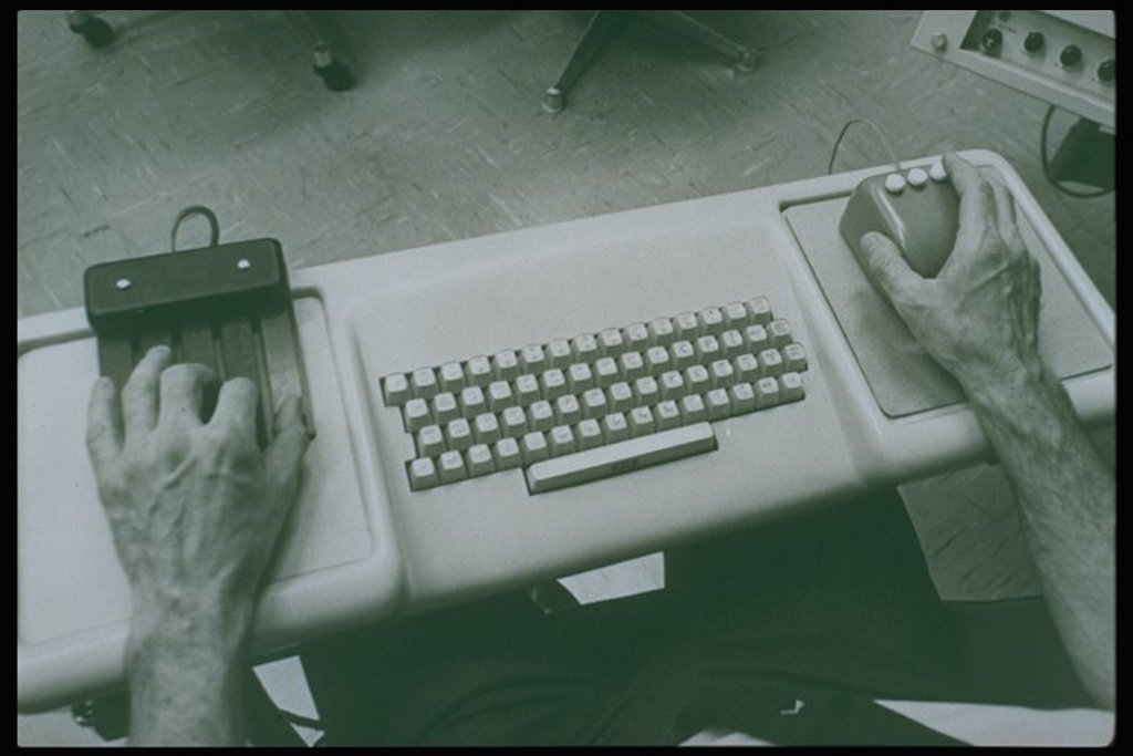 Doug Engelbart's human-computer interface with mouse