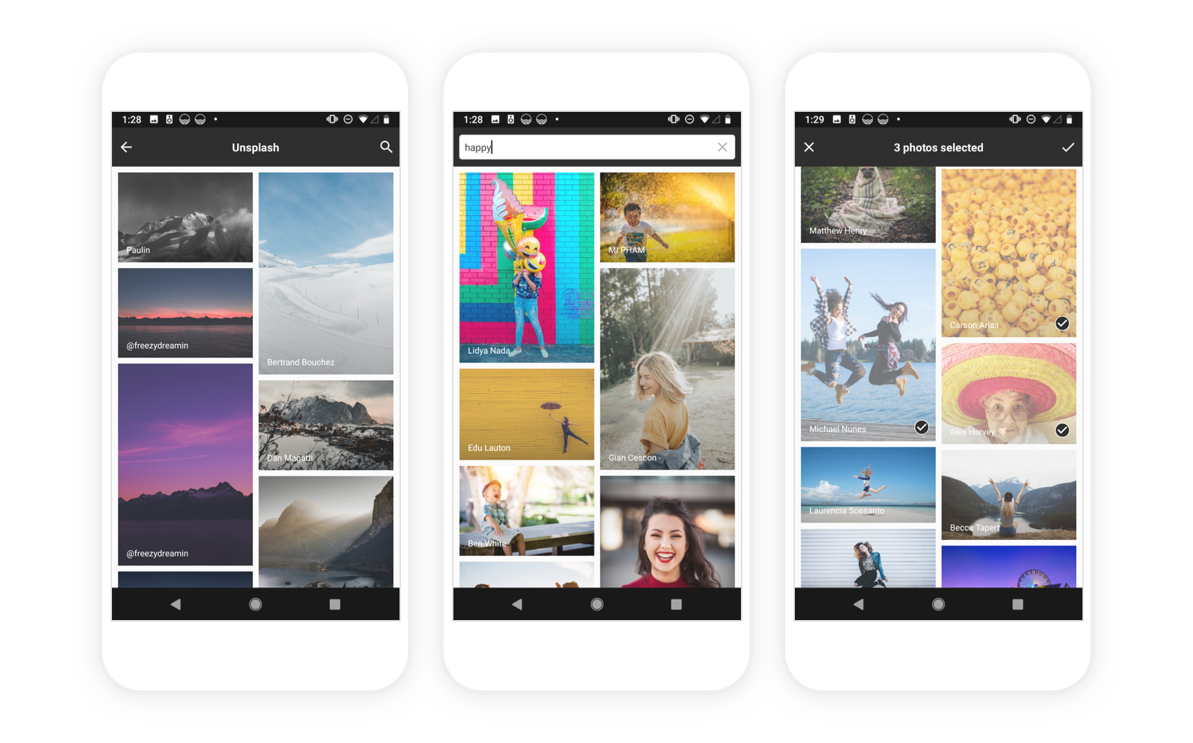 Unsplash Photo Picker for Android preview